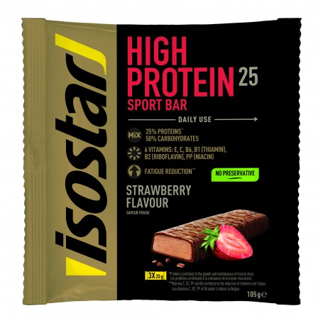 ISOSTAR  HIGH PROTEIN BAR CAPSUNI, 3X35 g