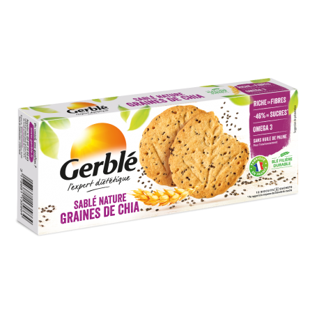 GERBLE EXPERT DIETETIC BISCUITI SEMINTE CHIA OMEGA 3, 132 g